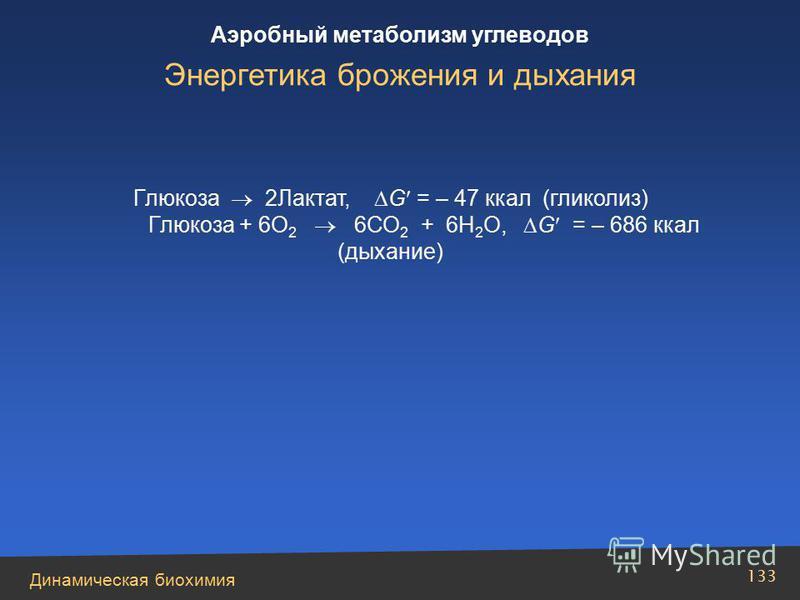 Динамическая биохимия Аэробный метаболизм углеводов 133 Глюкоза 2Лактат, G = – 47 ккал (гликолиз) Глюкоза + 6О 2 6СО 2 + 6Н 2 О, G = – 686 ккал (дыхание) Энергетика брожения и дыхания