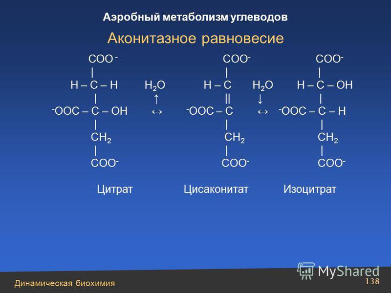 Динамическая биохимия Аэробный метаболизм углеводов 138 СОО - COO - COO -       H – C – H H 2 O H – C H 2 O H – C – OH        - OOC – C – OH - OOC – C - OOC – C – H       CH 2 CH 2 CH 2       COO - COO - COO - Цитрат Цисаконитат Изоцитрат Аконитазное