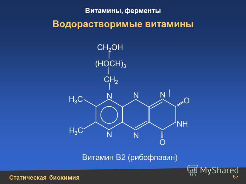 Статическая биохимия Витамины, ферменты 67 Водорастворимые витамины N N N N N СН 2 СН 2 ОН (НОСН) 3 NН Н3СН3С Н3СН3С О О Витамин В2 (рибофлавин)