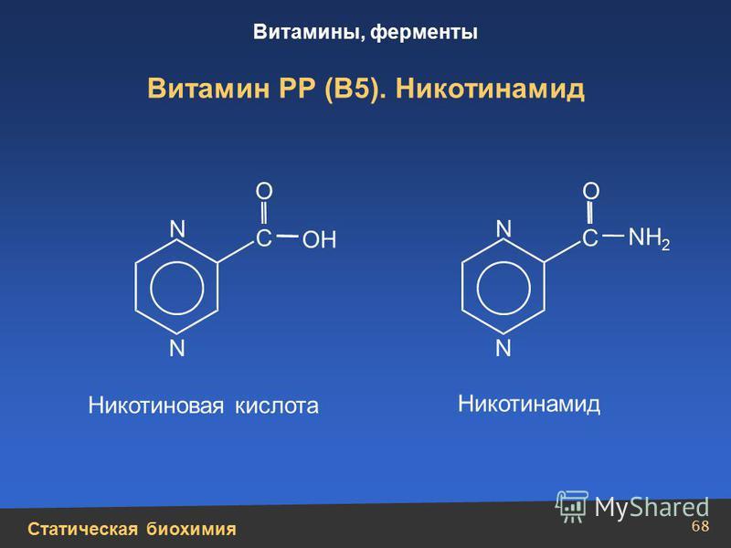 Статическая биохимия Витамины, ферменты 68 Витамин РР (В5). Никотинамид N N N N С С NН2Н2 ОН ОО Никотиновая кислота Никотинамид