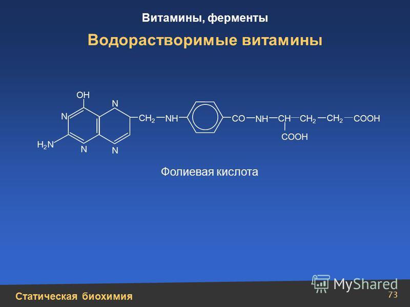 Статическая биохимия Витамины, ферменты 73 Водорастворимые витамины N N N N СН 2 СН СН 2 СО СООН NН NН Н2Н2 N ОН Фолиевая кислота