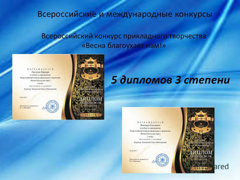 Всероссийские и международные конкурсы Всероссийский конкурс прикладного творчества «Весна благоухает нам!» 5 дипломов 3 степени