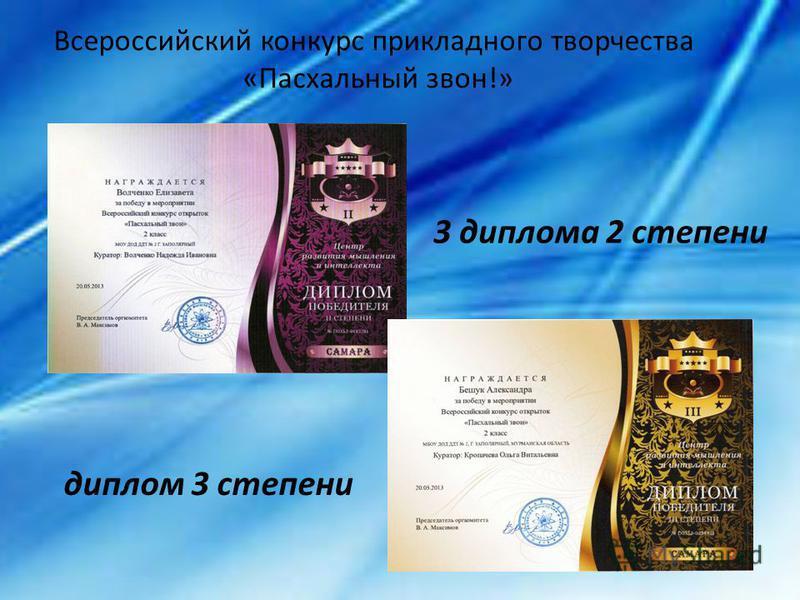 Всероссийский конкурс прикладного творчества «Пасхальный звон!» 3 диплома 2 степени диплом 3 степени