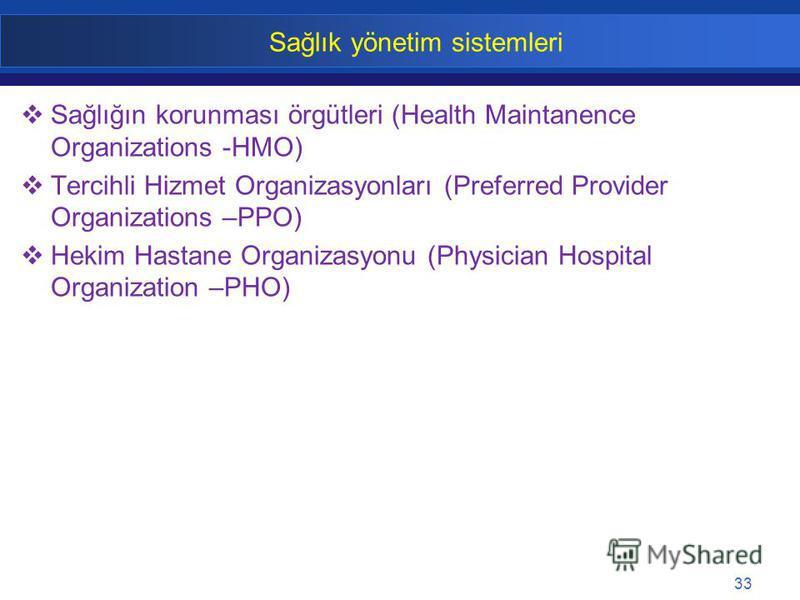 33 Sağlık yönetim sistemleri Sağlığın korunması örgütleri (Health Maintanence Organizations -HMO) Tercihli Hizmet Organizasyonları (Preferred Provider Organizations –PPO) Hekim Hastane Organizasyonu (Physician Hospital Organization –PHO)