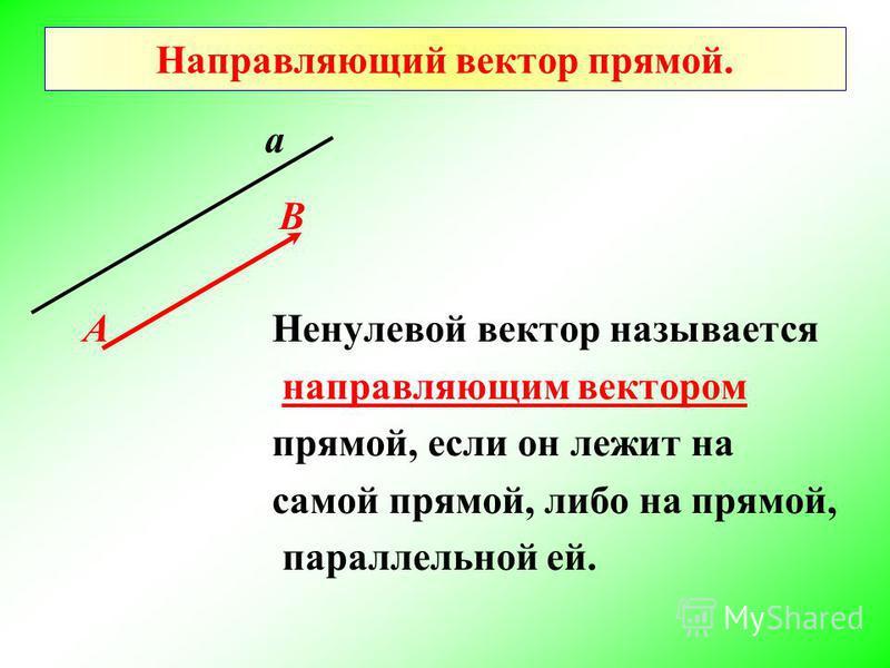 Направляющий вектор прямой. Ненулевой вектор называется направляющим вектором прямой, если он лежит на самой прямой, либо на прямой, параллельной ей. а В А