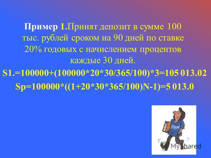 Пример 1. Принят депозит в сумме 100 тыс. рублей сроком на 90 дней по ставке 20% годовых с начислением процентов каждые 30 дней. S1.=100000+(100000*20*30/365/100)*3=105 013.02 Sp=100000*((1+20*30*365/100)N-1)=5 013.0