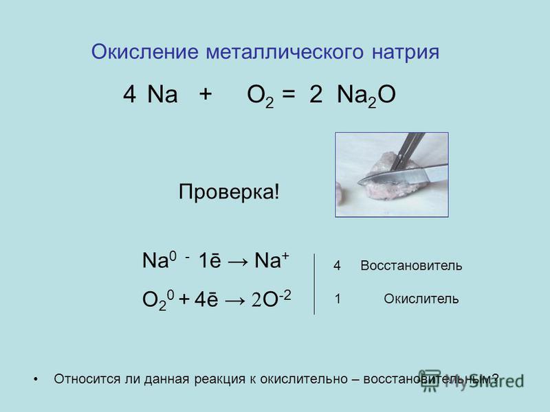 Окисление металлического натрия Относится ли данная реакция к окислительно – восстановительным? Na + O 2 = Na 2 O 24 Проверка! Na 0 - 1ē Na + O 2 0 + 4ē 2 O -2 4 Восстановитель 1 Окислитель