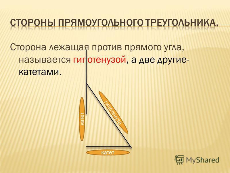 Сторона лежащая против прямого угла, называется гипотенузой, а две другие- катетами. гипотенуза катет