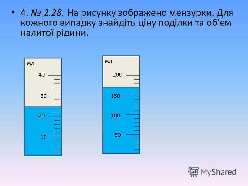 4. 2.28. На рисунку зображено мензурки. Для кожного випадку знайдіть ціну поділки та об'єм налитої рідини. 10 20 30 40 мл 50 100 150 200 мл