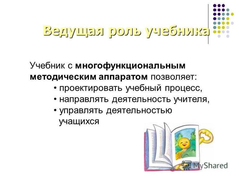 Учебник с многофункциональным методическим аппаратом позволяет: проектировать учебный процесс, направлять деятельность учителя, управлять деятельностью учащихся Ведущая роль учебника Ведущая роль учебника