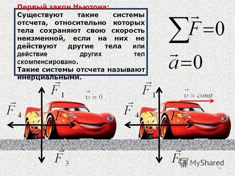 18 Первый закон Ньютона: Существуют такие системы отсчета, относительно которых тела сохраняют свою скорость неизменной, если на них не действуют другие тела или действие других тел скомпенсировано. Такие системы отсчета называют инерциальными.