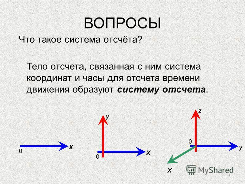 5 ВОПРОСЫ Что такое система отсчёта? Тело отсчета, связанная с ним система координат и часы для отсчета времени движения образуют систему отсчета. 0 Х 0 Х у 0 у z Х