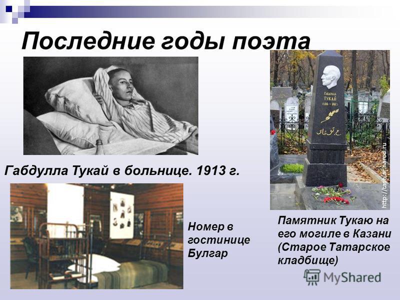 Последние годы поэта Габдулла Тукай в больнице. 1913 г. Памятник Тукаю на его могиле в Казани (Старое Татарское кладбище) Номер в гостинице Булгар