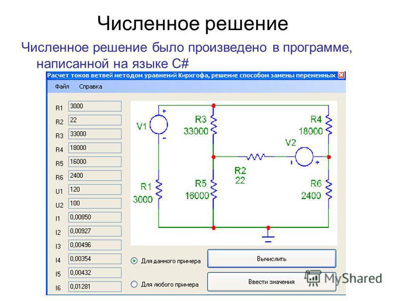 Численное решение Численное решение было произведено в программе, написанной на языке C#