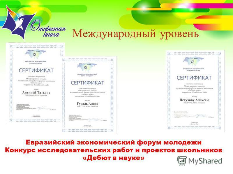 Международный уровень Евразийский экономический форум молодежи Конкурс исследовательских работ и проектов школьников «Дебют в науке»