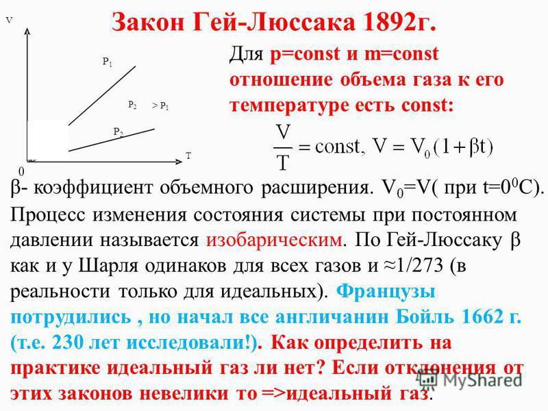 Закон Гей-Люссака 1892 г. Для p=const и m=const отношение объема газа к его температуре есть const: β- коэффициент объемного расширения. V 0 =V( при t=0 0 C). Процесс изменения состояния системы при постоянном давлении называется изобарическим. По Ге