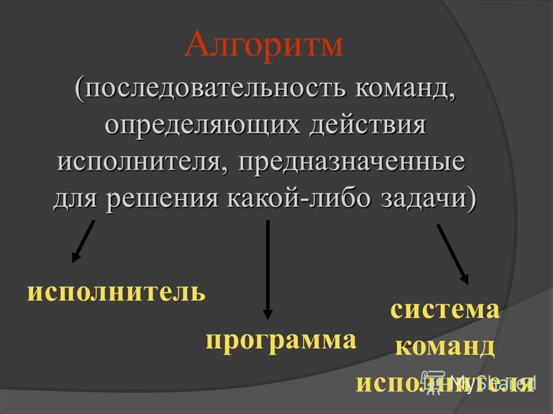 Алгоритм (последовательность команд, определяющих действия исполнителя, предназначенные для решения какой-либо задачи) исполнитель программа система команд исполнителя