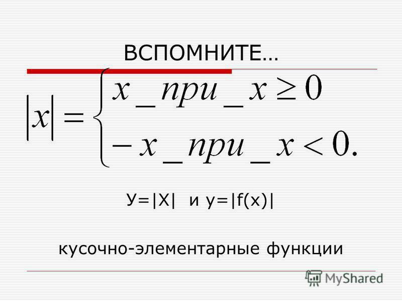 ВСПОМНИТЕ… У=|Х| и y=|f(x)| кусочно-элементарные функции