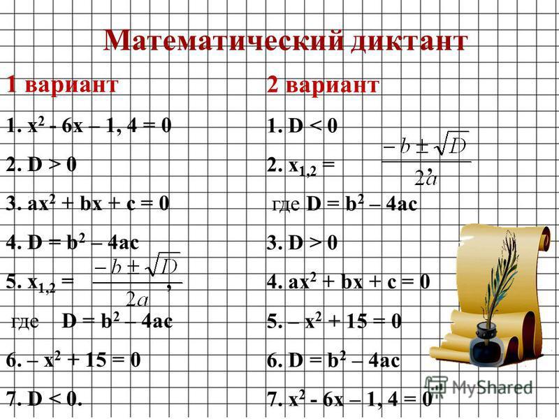 1 вариант 1. х 2 - 6 х – 1, 4 = 0 2. D > 0 3. ах 2 + bх + c = 0 4. D = b 2 – 4ac 5. x 1,2 =, где D = b 2 – 4ac 6. – х 2 + 15 = 0 7. D < 0. 2 вариант 1. D < 0 2. x 1,2 =, где D = b 2 – 4ac 3. D > 0 4. ах 2 + bх + c = 0 5. – х 2 + 15 = 0 6. D = b 2 – 4