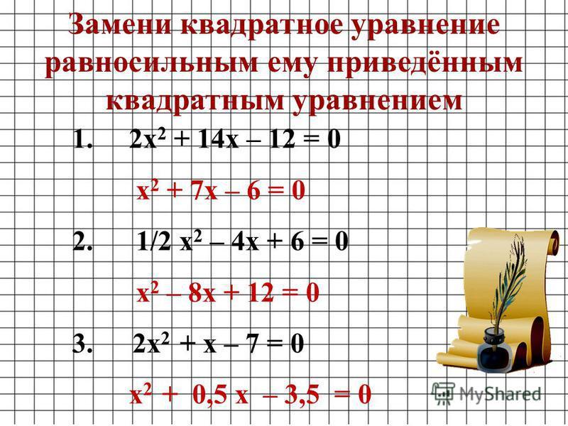 1.2 х 2 + 14 х – 12 = 0 х 2 + 7 х – 6 = 0 2. 1/2 х 2 – 4 х + 6 = 0 х 2 – 8 х + 12 = 0 3. 2 х 2 + х – 7 = 0 х 2 + 0,5 х – 3,5 = 0 Замени квадратное уравнение равносильным ему приведённым квадратным уравнением