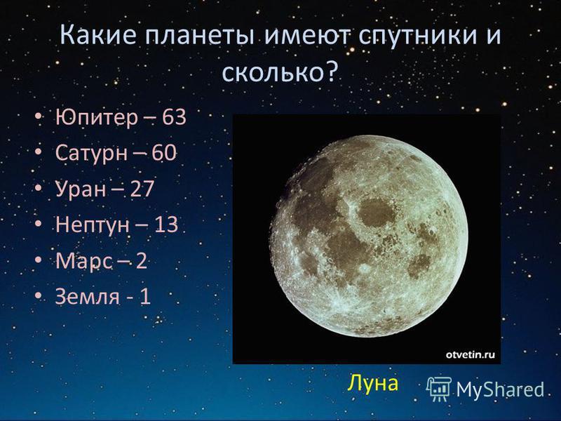 Какие планеты имеют спутники и сколько? Юпитер – 63 Сатурн – 60 Уран – 27 Нептун – 13 Марс – 2 Земля - 1 Луна