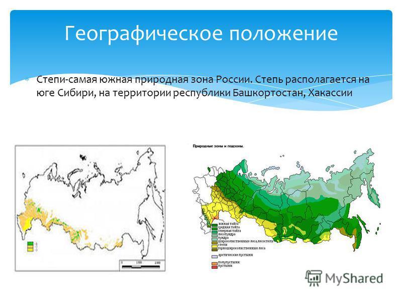 Степи-самая южная природная зона России. Степь располагается на юге Сибири, на территории республики Башкортостан, Хакассии Географическое положение