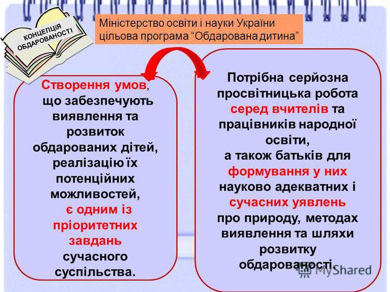 Міністерство освіти і науки України цільова програма Обдарована дитина Створення умов, що забезпечують виявлення та розвиток обдарованих дітей, реалізацію їх потенційних можливостей, є одним із пріоритетних завдань сучасного суспільства. Потрібна сер