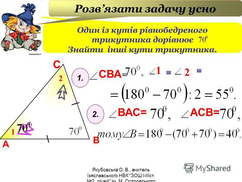 Якубовська О. В., вчитель Ізяславського НВК ЗОШ I-IIIст. 2, ліцей ім. М. Островського А В С 1 2 СВА 2 1 = Один із кутів рівнобедреного трикутника дорівнює Знайти інші кути трикутника. Розвязати задачу усно 1. 2. ВАС= АСВ=