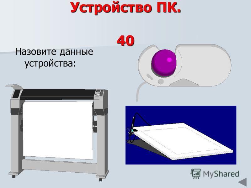 Устройство ПК. 40 Назовите данные устройства: