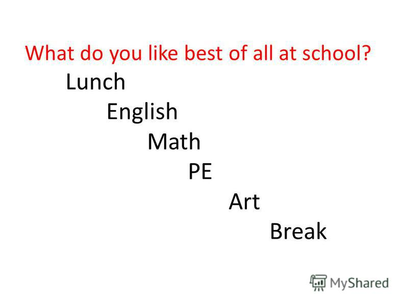 What do you like best of all at school? Lunch English Math PE Art Break