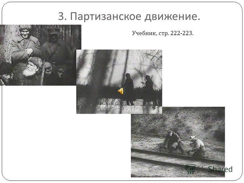 3. Партизанское движение. Учебник, стр. 222-223.