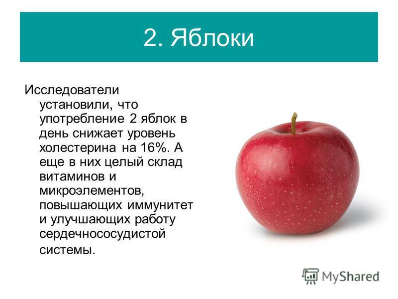2. Яблоки Исследователи установили, что употребление 2 яблок в день снижает уровень холестерина на 16%. А еще в них целый склад витаминов и микроэлементов, повышающих иммунитет и улучшающих работу сердечно сосудистой системы.