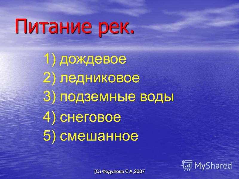 (С) Федулова С А,2007 Питание рек. 3) подземные воды 4) снеговое 5) смешанное 1) дождевое 2) ледниковое