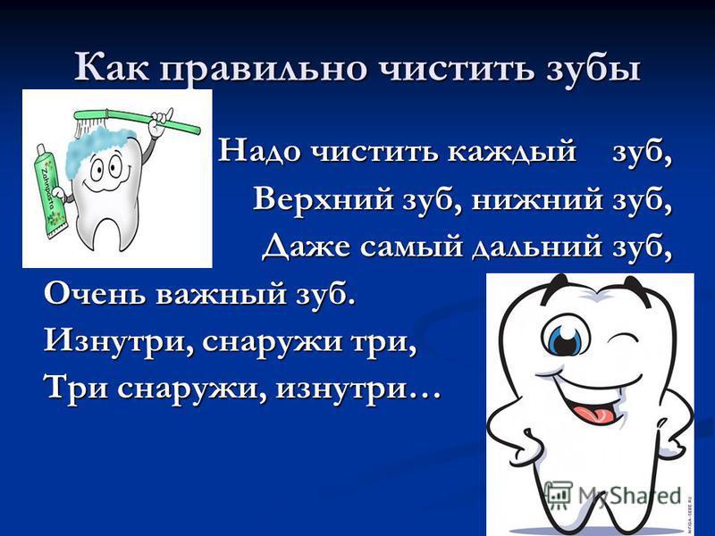 Как правильно чистить зубы Надо чистить каждый зуб, Надо чистить каждый зуб, Верхний зуб, нижний зуб, Даже самый дальний зуб, Очень важный зуб. Изнутри, снаружи три, Три снаружи, изнутри…