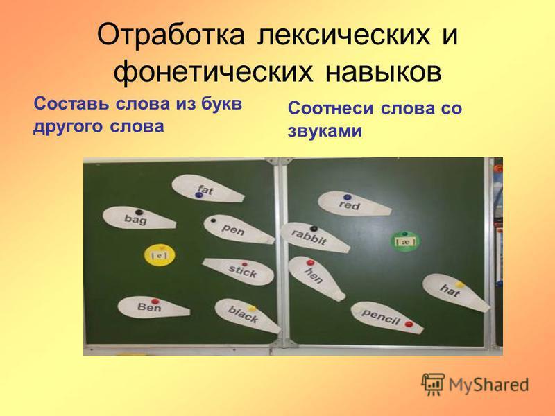 Отработка лексических и фонетических навыков Составь слова из букв другого слова Соотнеси слова со звуками