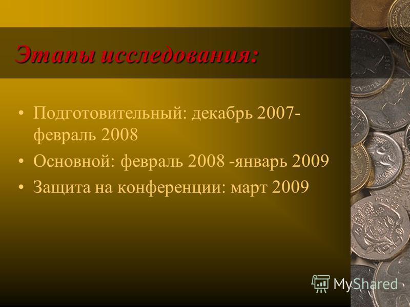 Этапы исследования: Подготовительный: декабрь 2007- февраль 2008 Основной: февраль 2008 -январь 2009 Защита на конференции: март 2009