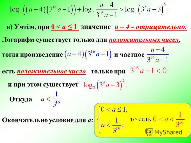 в) Учтём, при 0 < a 1 значение а – 4 - отрицательно. Логарифм существует только для положительных чисел, тогда произведение и частное есть положительное число только при Откуда и при этом существует Окончательно условие для а:
