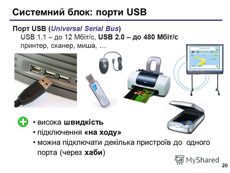 20 Системний блок: порти USB Порт USB (Universal Serial Bus) USB 1.1 – до 12 Мбіт/c, USB 2.0 – до 480 Мбіт/c принтер, сканер, миша, … висока швидкість підключення «на ходу» можна підключати декілька пристроїв до одного порта (через хаби)