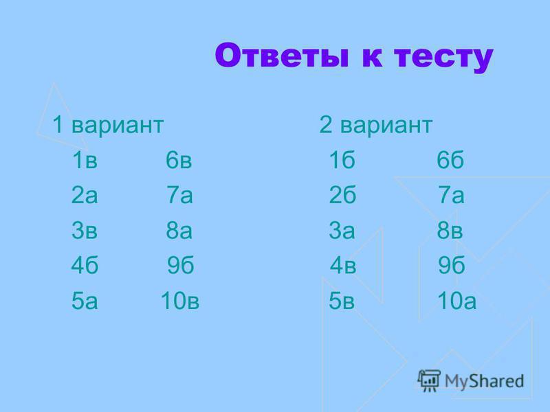 Ответы к тесту 1 вариант 2 вариант 1 в 6 в 1 б 6 б 2 а 7 а 2 б 7 а 3 в 8 а 3 а 8 в 4 б 9 б 4 в 9 б 5 а 10 в 5 в 10 а