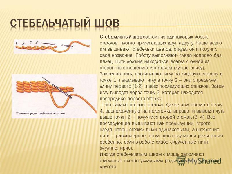 Стебельчатый шов состоит из одинаковых косых стежков, плотно прилегающих друг к другу. Чаще всего им вышивают стебельки цветов, откуда он и получил свое название. Работу выполняют- слева направо без пялец. Нить должна находиться всегда с одной из сто