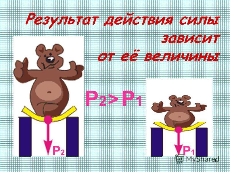 4 Результат действия силы зависит от её величины Р2Р2 Р1Р1 Р2Р2 Р1Р1 >