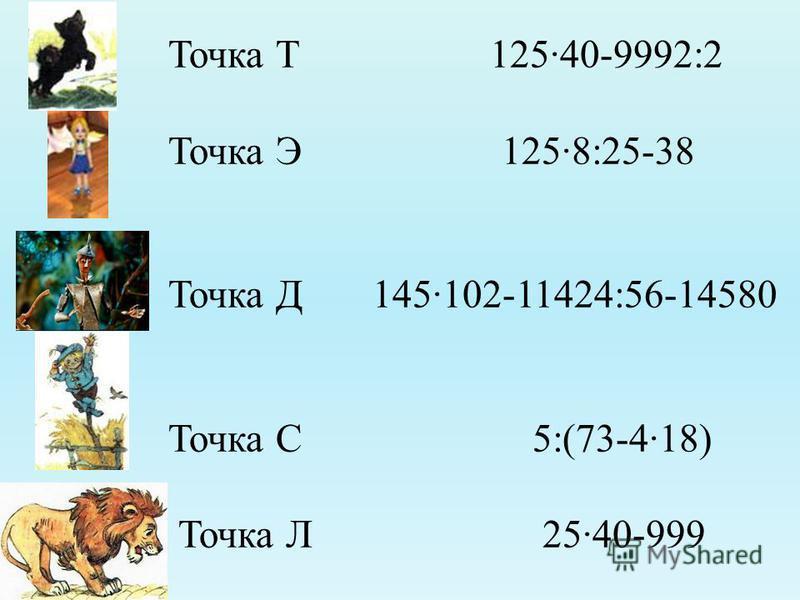 Точка Т 125·40-9992:2 Точка Э 125·8:25-38 Точка Д 145·102-11424:56-14580 Точка С 5:(73-4·18) Точка Л 25·40-999