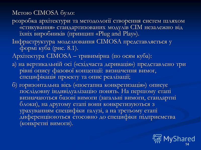 14 Метою CIMOSA було: розробка архітектури та методології створення систем шляхом «стикування» стандартизованих модулів CIM незалежно від їхніх виробників (принцип «Plug and Play»). Інфраструктура моделювання CIMOSA представляється у формі куба (рис.