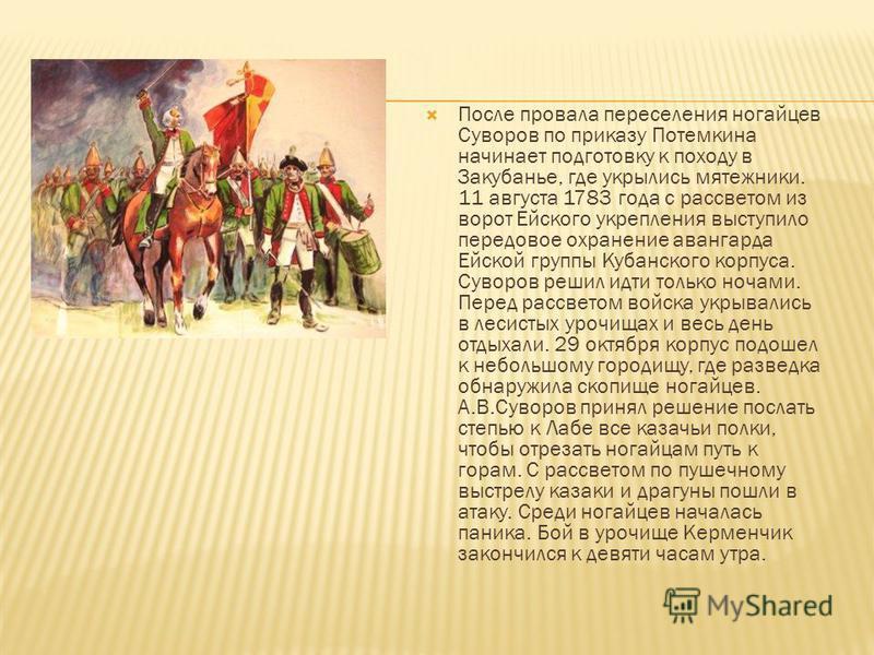 После провала переселения ногайцев Суворов по приказу Потемкина начинает подготовку к походу в Закубанье, где укрылись мятежники. 11 августа 1783 года с рассветом из ворот Ейского укрепления выступило передовое охранение авангарда Ейской группы Кубан