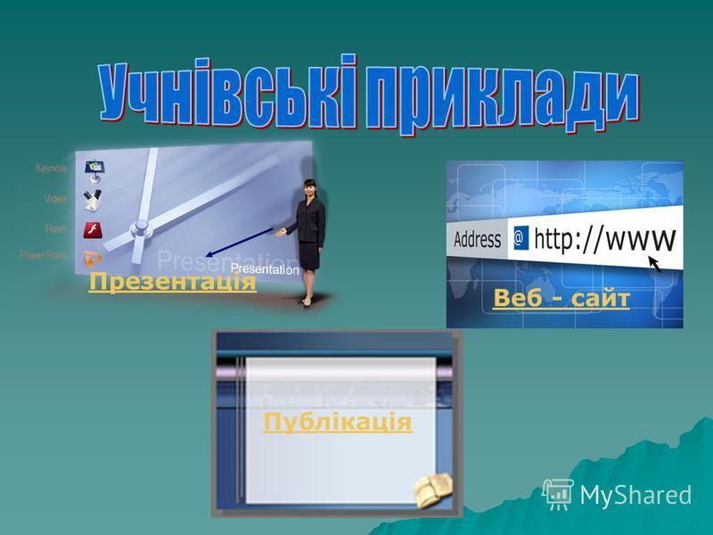 Презентація Публікація Веб - сайт