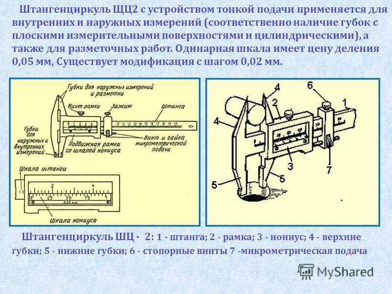 Штангенциркуль ЩЦ2 с устройством тонкой подачи применяется для внутренних и наружных измерений (соответственно наличие губок с плоскими измерительными поверхностями и цилиндрическими), а также для разметочных работ. Одинарная шкала имеет цену деления