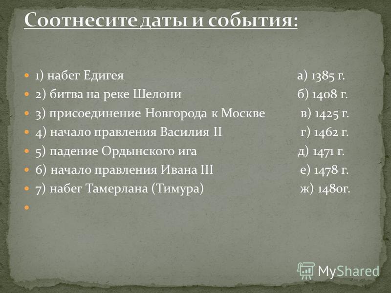 1) набег Едигеяа) 1385 г. 2) битва на реке Шелониб) 1408 г. 3) присоединение Новгорода к Москве в) 1425 г. 4) начало правления Василия II г) 1462 г. 5) падение Ордынского ига д) 1471 г. 6) начало правления Ивана III е) 1478 г. 7) набег Тамерлана (Тим