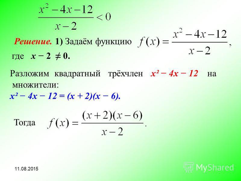11.08.2015 Решение. 1) Задаём функцию где х 2 0. Разложим квадратный трёхчлен х² 4 х 12 на множители: х² 4x 12 = (х + 2)(х 6). Тогда