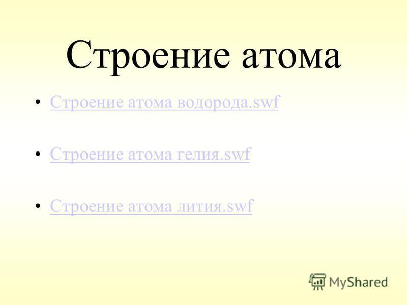 Строение атома Строение атома водорода.swf Строение атома гелия.swf Строение атома лития.swf