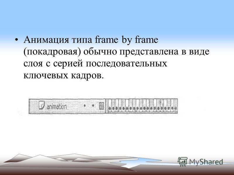 Анимация типа frame by frame (покадровая) обычно представлена в виде слоя с серией последовательных ключевых кадров.